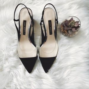 Zara Heeled Slingback Vinyl Shoes